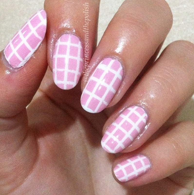 Pink checks for Breast Cancer Awareness nail art by Alexandra