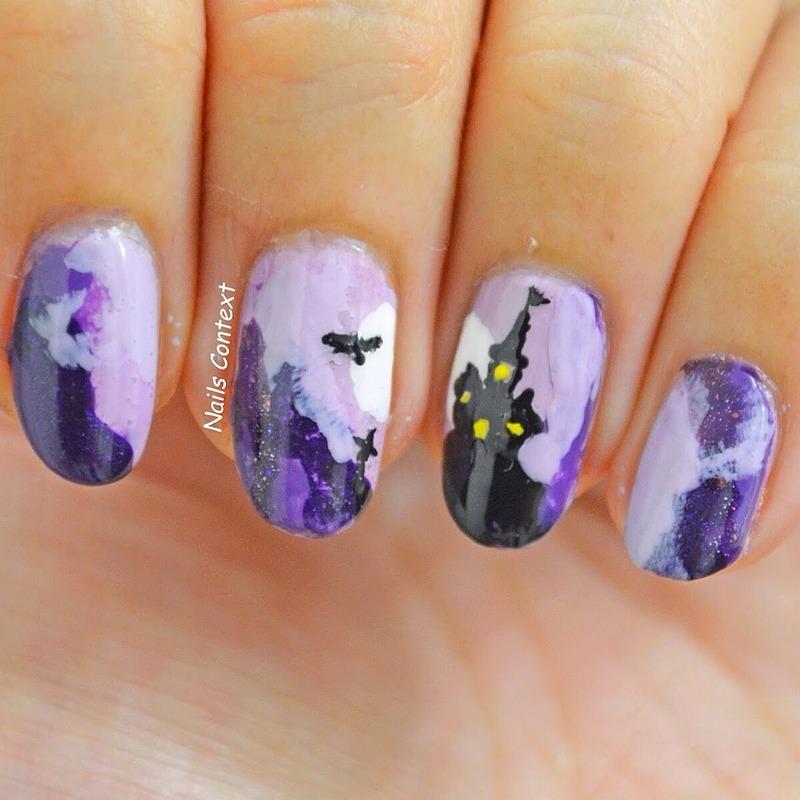 Halloween Castle nail art by NailsContext