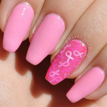 Breast Cancer Awareness Ribbon  nail art by HappilyEver Rose