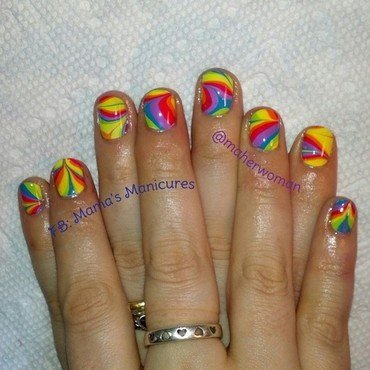 Pride/Rainbow Watermarble nail art by Mama's Manicures (maherwoman)