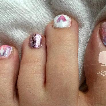Pink galaxy nail art by Cachalot