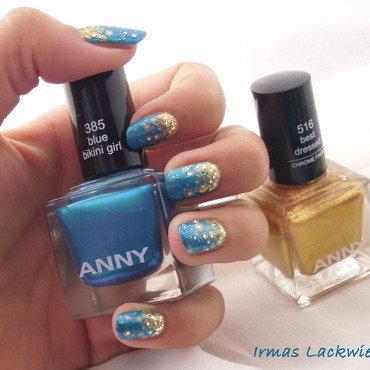 gold dots on blue bikini nail art by irma