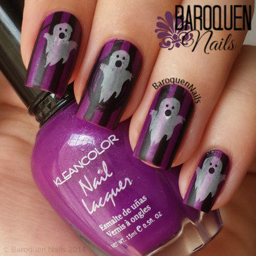 Ghostly Stripes nail art by BaroquenNails