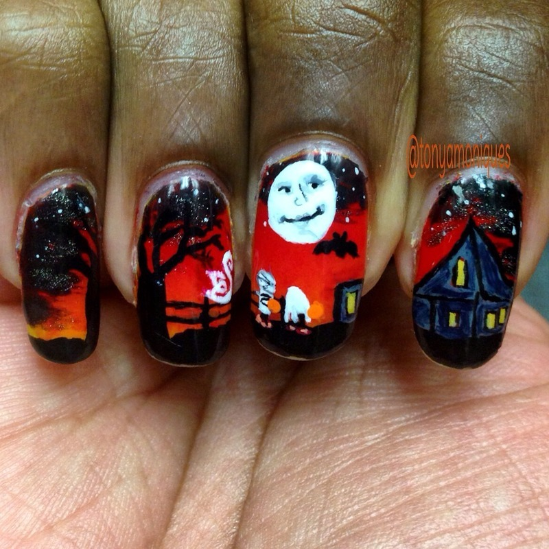 Trick or Treat nail art by Tonya Simmons