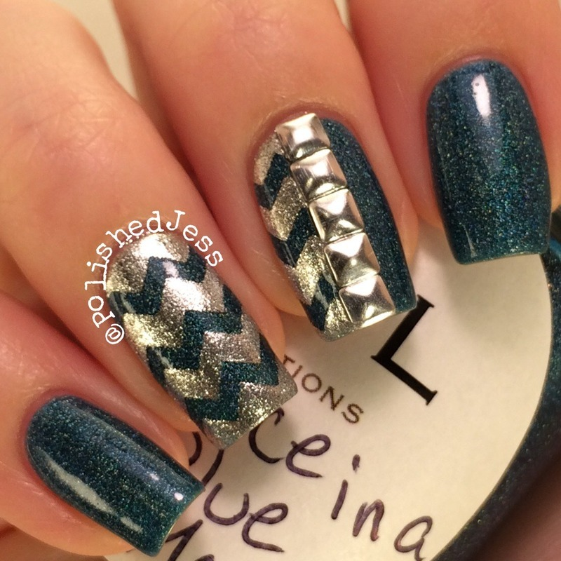Chevrons and Studs nail art by PolishedJess