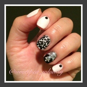 Black Floral & Jewels nail art by SweetPea_Whimsy