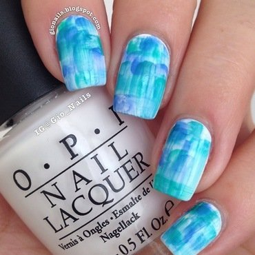 Green & Blue Streaky Watercolour nail art by Giovanna - GioNails