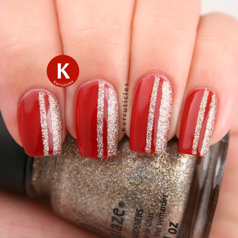 Red with glittery gold stripes nail art by Claire Kerr