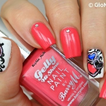 Pink Heart nail art by Giovanna - GioNails