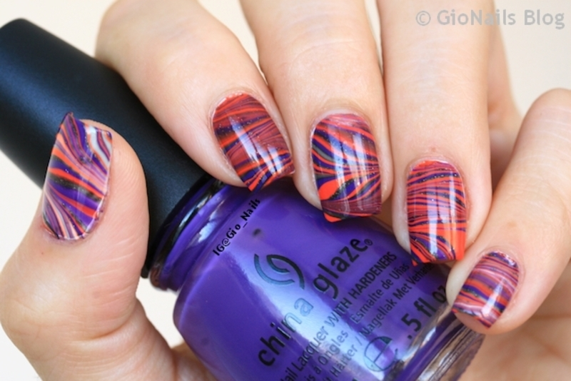Water Marble for Halloween nail art by Giovanna - GioNails