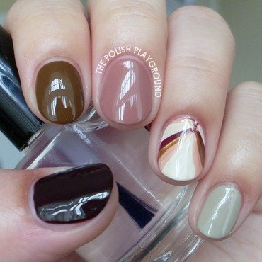 Fall Inspired Skittle with Water Marble Accent Nail nail art by Lisa N