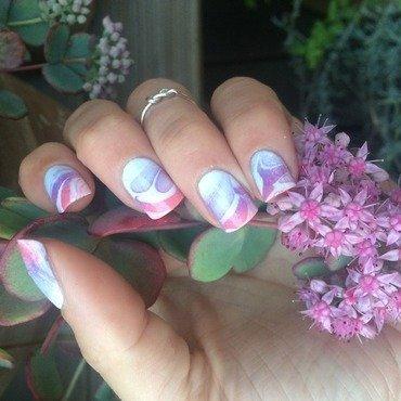 Gradient water marble nail art by Ella