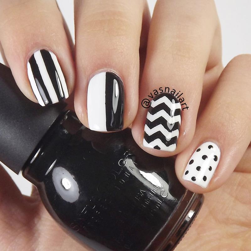 B&W Mix n Match nail art by  Vanesa