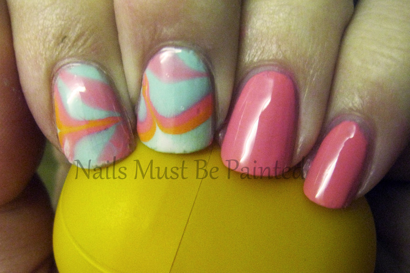 Candy Marble nail art by Emily