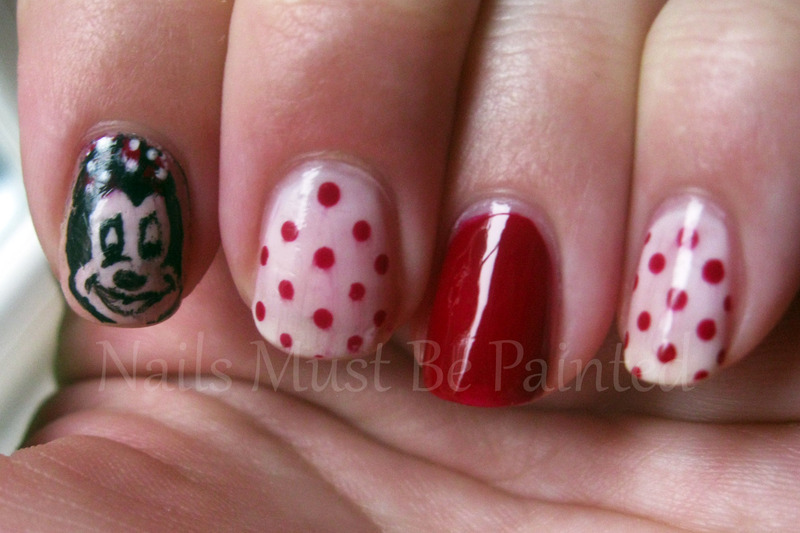 Minnie Mouse nail art by Emily
