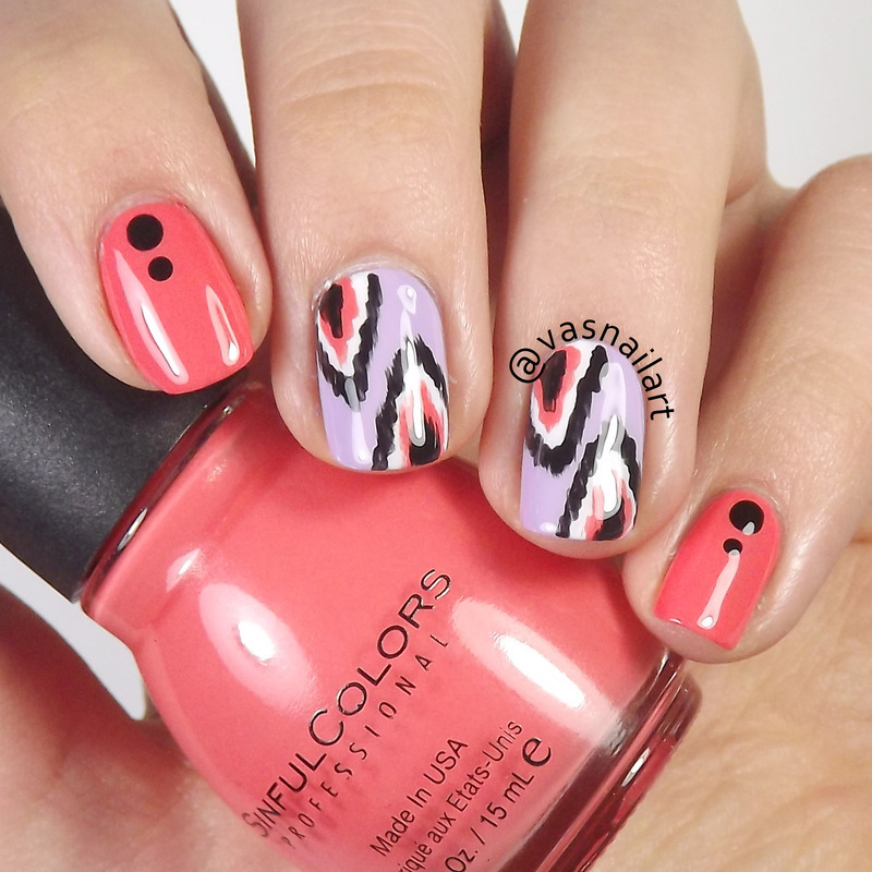 Ikat nail art by  Vanesa