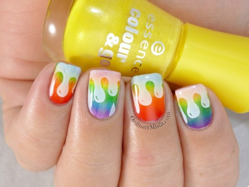 Rainbow drips nail art by Michelle
