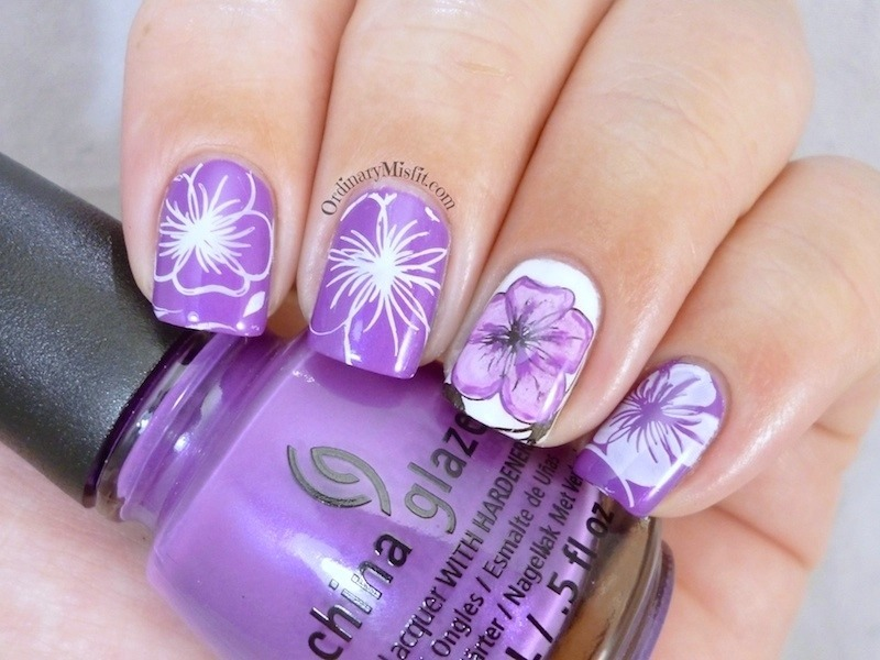 Flowers nail art by Michelle