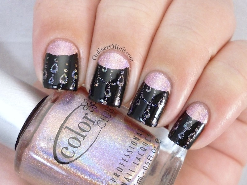 Stamped half moons nail art by Michelle