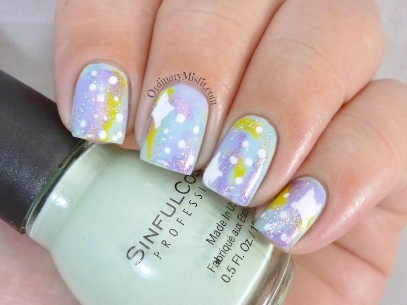 Pastel galaxy nail art by Michelle
