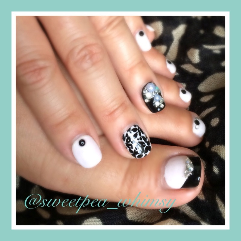 Black Floral & Jewels Mani/Pedi nail art by SweetPea_Whimsy ...