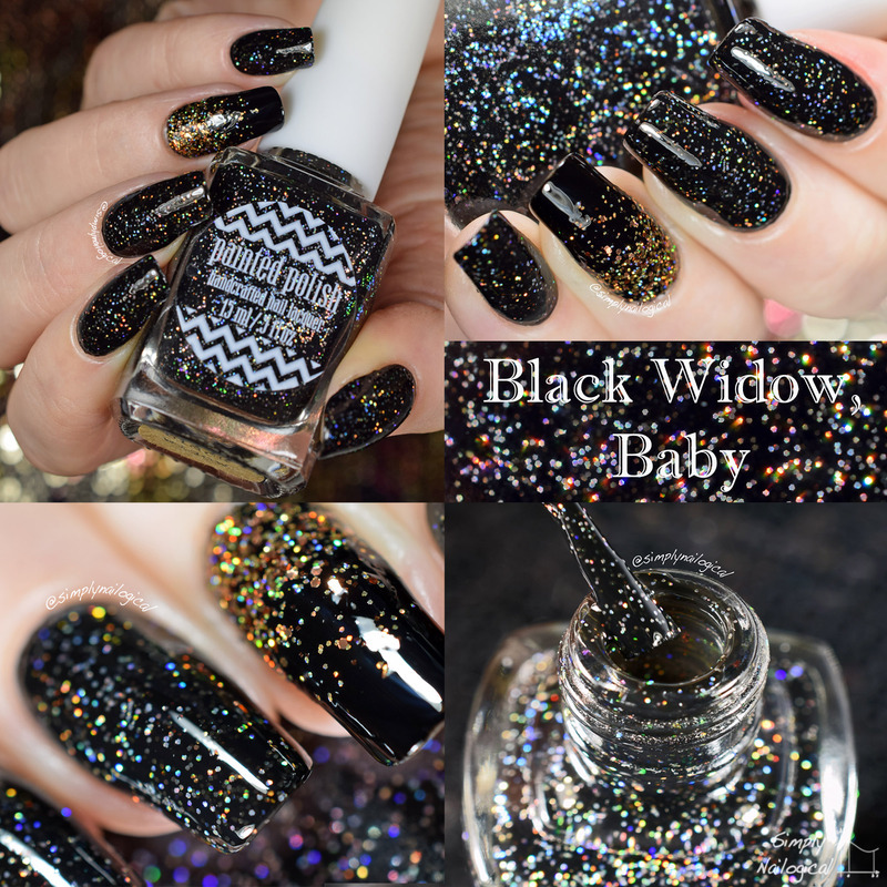 Painted Polish Black widow, baby Swatch by simplynailogical