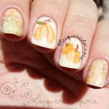 Watercolor Pumpkins nail art by Jennifer Collins