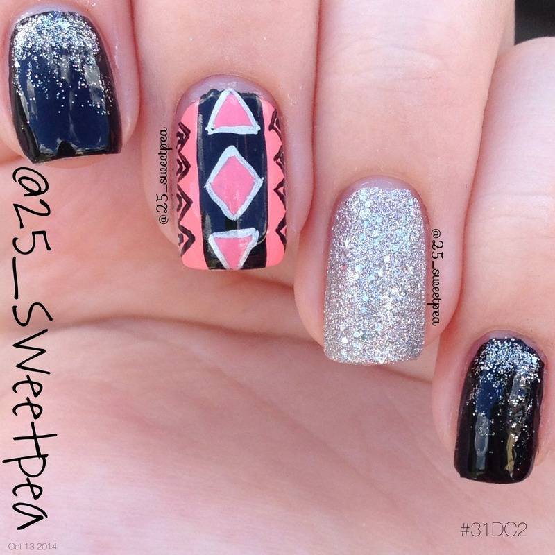 Geometric Dress Inspired nail art by 25_sweetpea