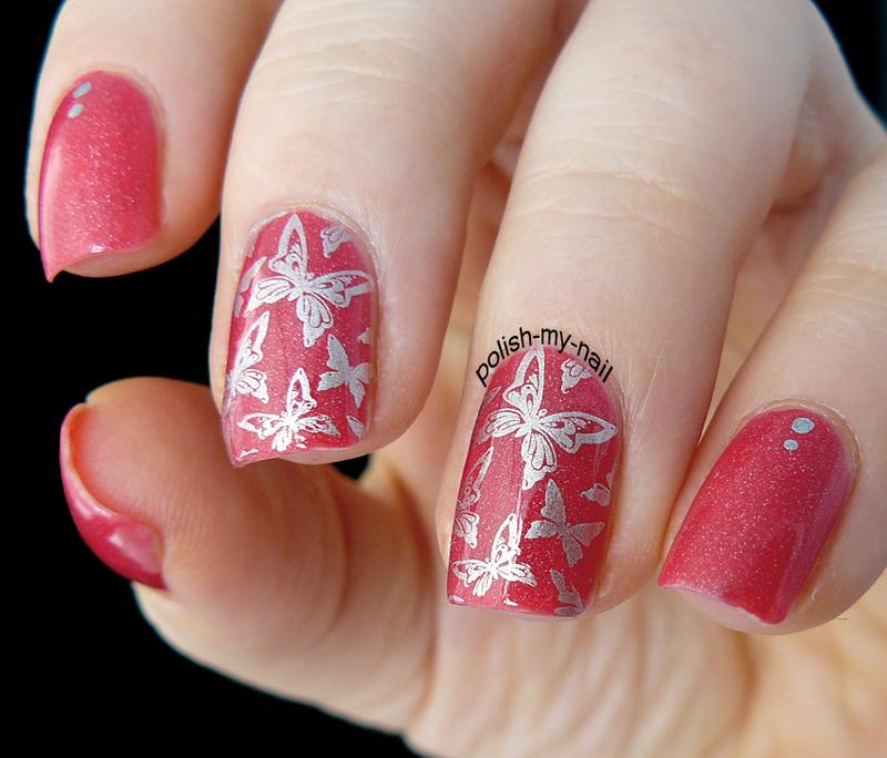 Silver Butterflies nail art by Ewlyn