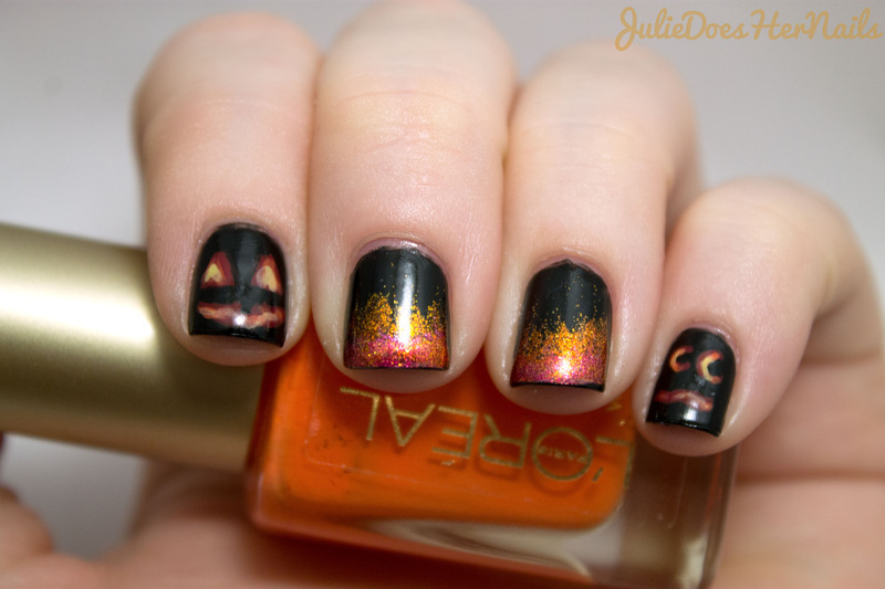 Glowing Jack-O-Lantern Nail Art nail art by Julie - Nailpolis ...