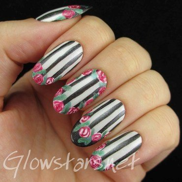 Roses, Stripes and French Tips nail art by Vic 'Glowstars' Pires