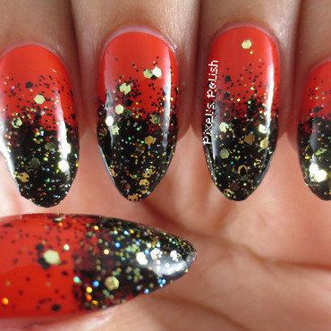 Halloween Glitter Gradient nail art by Pixel's Polish