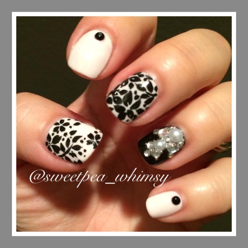 Random Black Floral nail art by SweetPea_Whimsy
