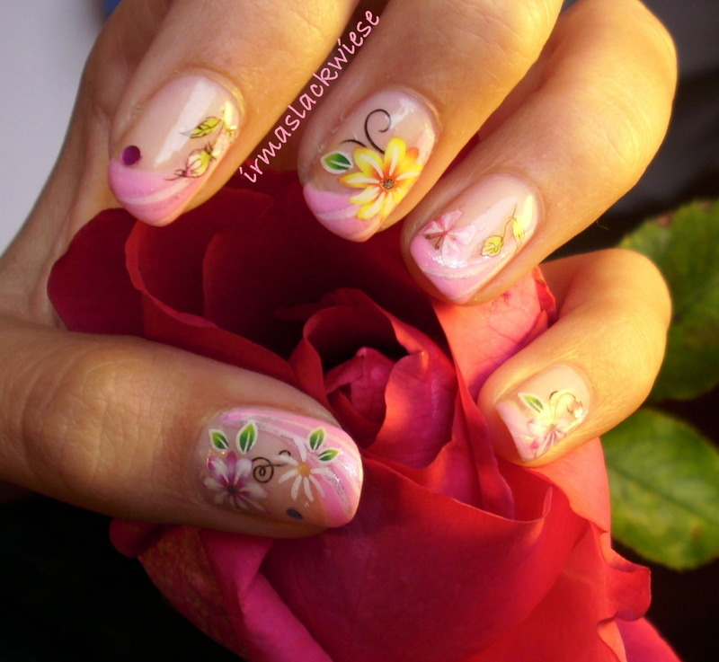 pink french with flowers nail art by irma