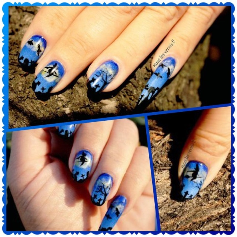Blue witch  nail art by Elodie Mayer