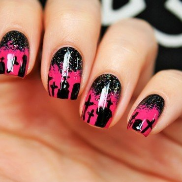 Night in the graveyard nail art by Jane
