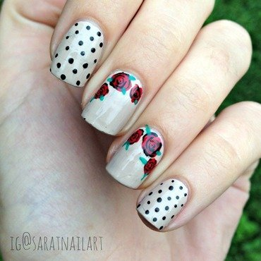 Dots&Roses nail art by Sara T