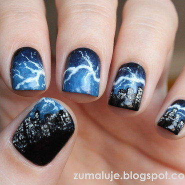 thunderstorm nail art by Zu