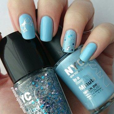 Blue love nail art by Pinkyblue Nailart