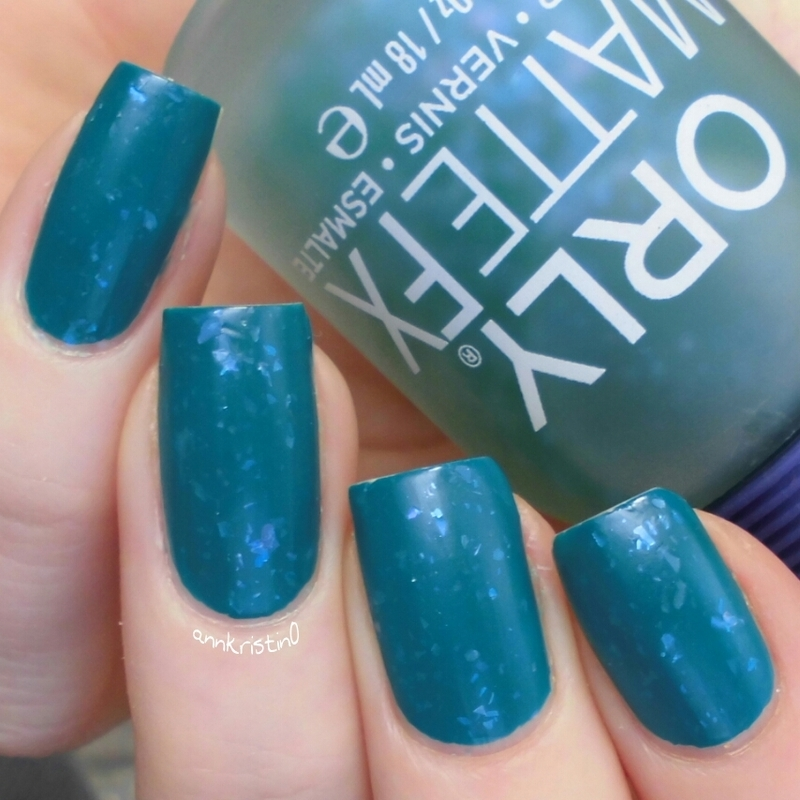 Orly Green Flakie Top Coat and Orly Teal Unreal Swatch by Ann-Kristin