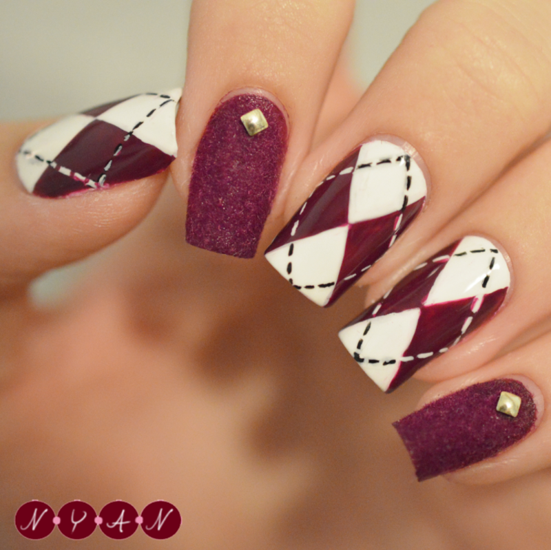 Argyle nail art by Becca (nyanails)