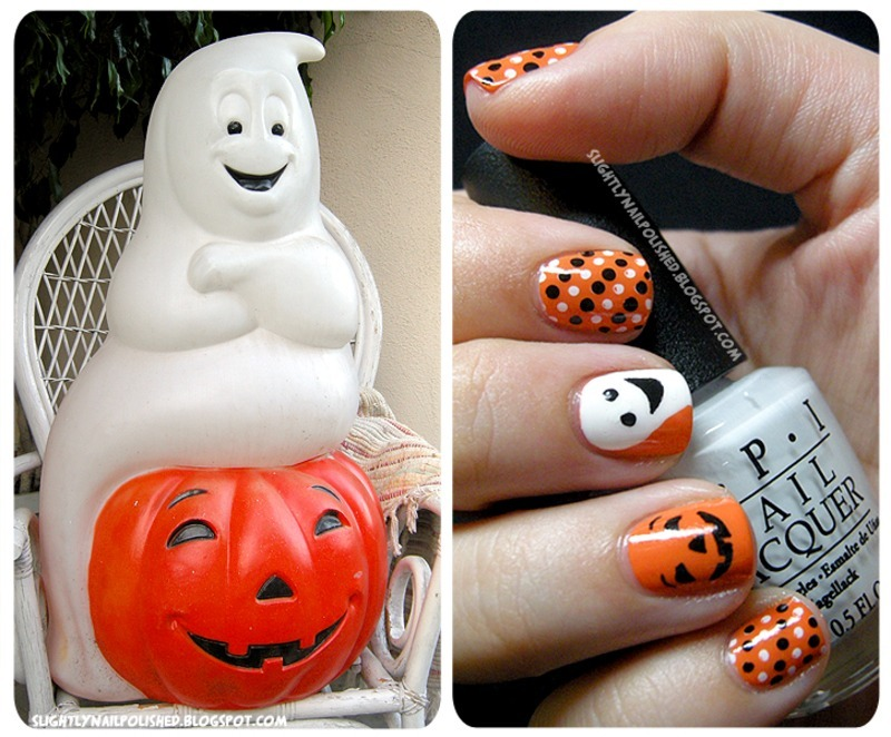 A Happy Ghost and Pumpkin... nail art by Samantha Rae