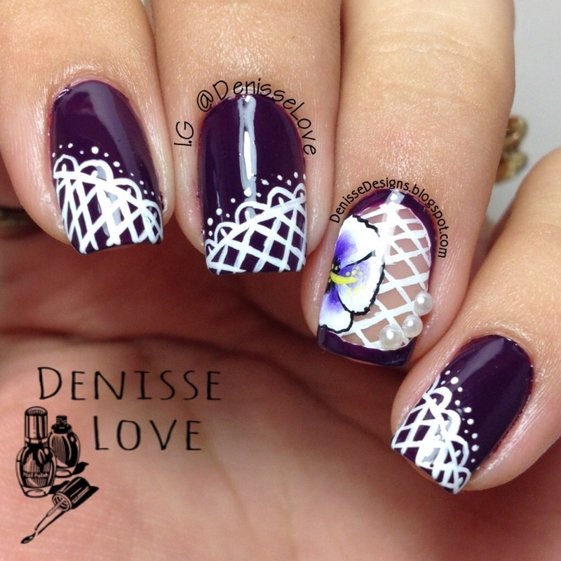Flowers & Lace nail art by Denisse Love