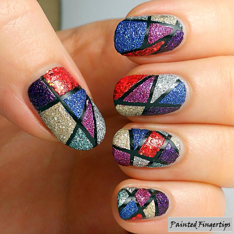 Geometric Colour Blocks nail art by Kerry_Fingertips