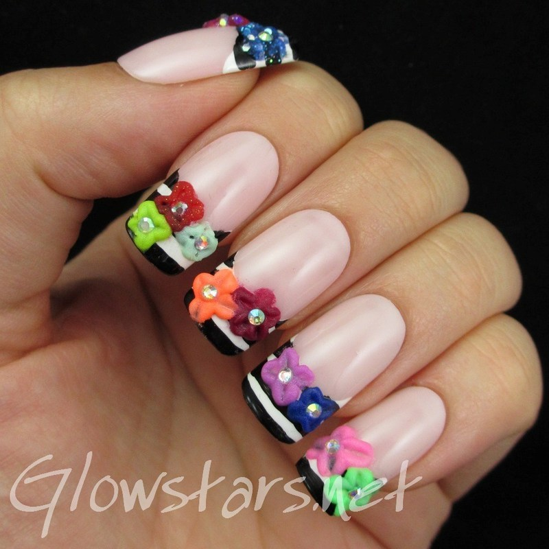 Black & white striped french and 3D acrylic flowers nail art by Vic 'Glowstars' Pires