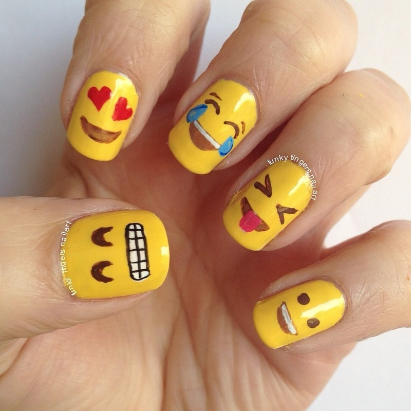Emoji nails nail art by Funky fingers nail art