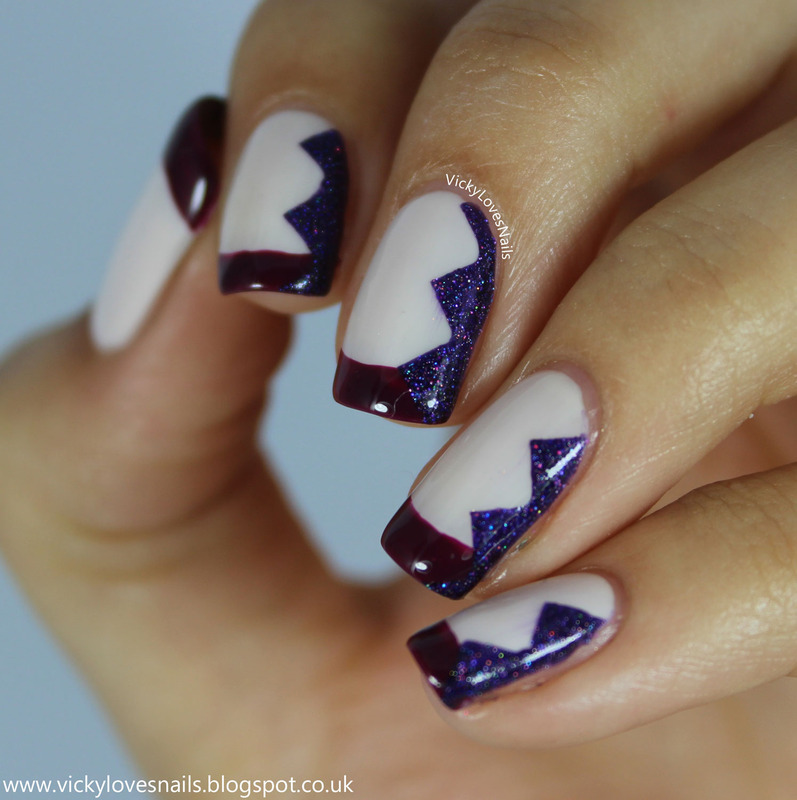 French Tips and Chevrons nail art by Vicky Standage