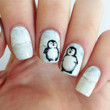 Penguin nails nail art by NailThatDesign