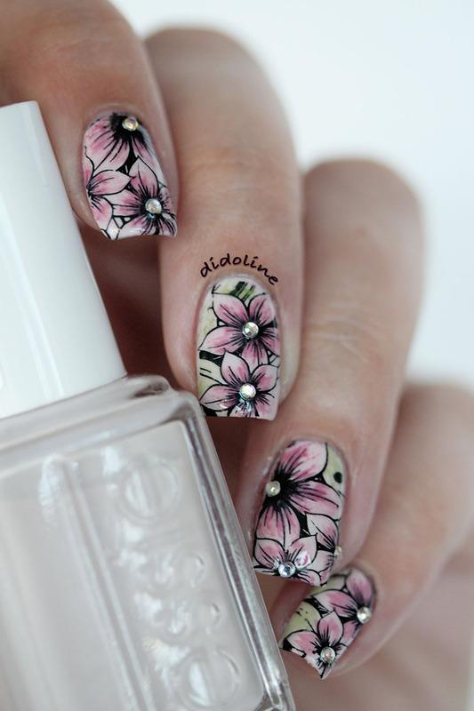 Stamping & Watercolor Nails nail art by Dorra (didoline)