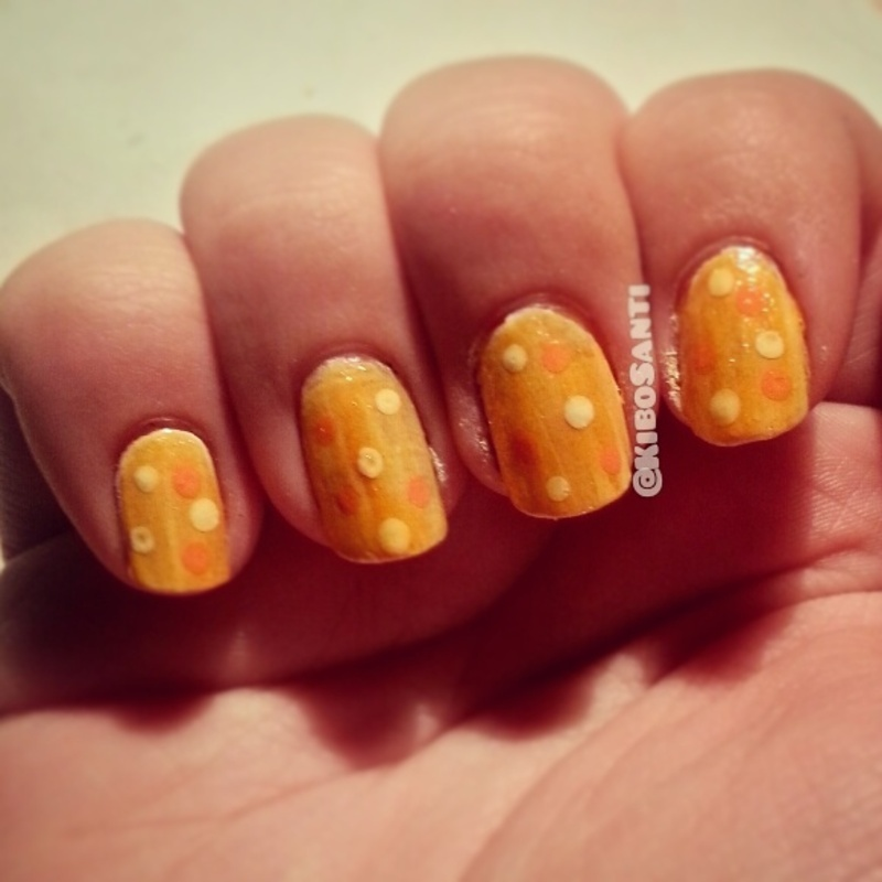 October challenge day 10 pond mani nail art by KiboSanti